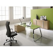 Bureau de direction 70's finition verre pistache
