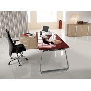 Bureau de direction 70's finition verre rubis