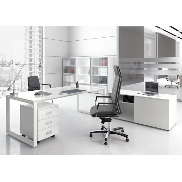 Bureau Direction 5th Element Finition Verre Blanc