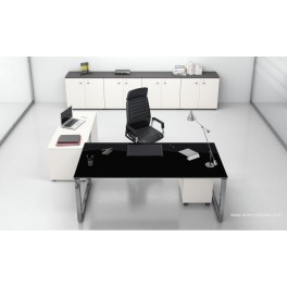 Bureau direction 5th Elément finition verre noir