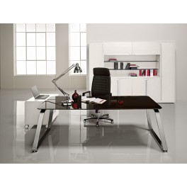 Bureau de direction 70's finition verre noir