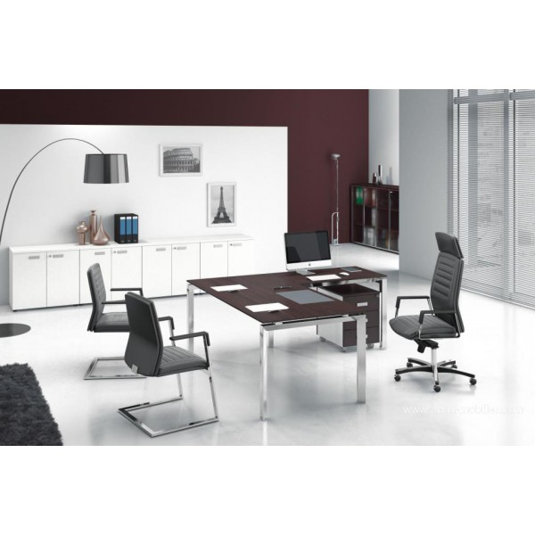 bureau direction 5th el ment finition ch ne tabac. Black Bedroom Furniture Sets. Home Design Ideas