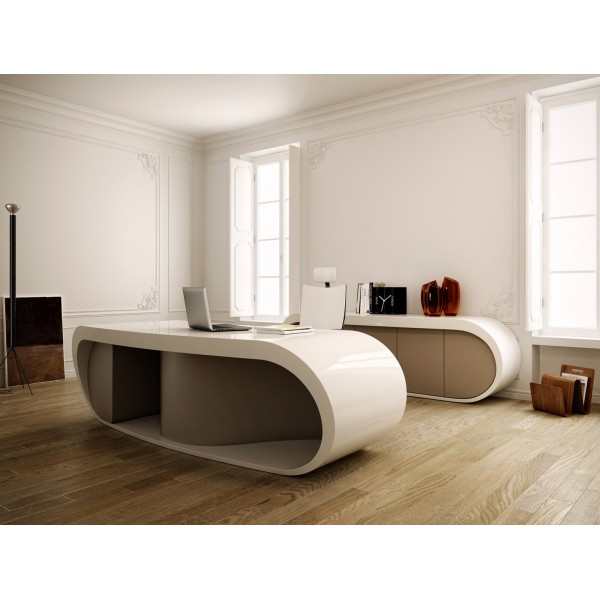 bureau de direction goggle blanc brillant et gris. Black Bedroom Furniture Sets. Home Design Ideas