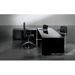 Bureau de direction Tiper en verre et bois noir