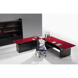 Bureau de direction ABC finition verre rouge