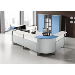Banque d'accueil Easy carrée finition blanc et bleu