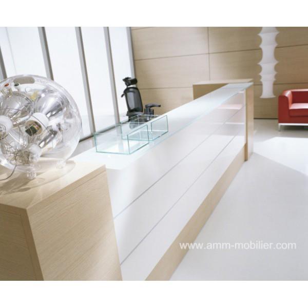 Banque d 39 accueil esedra droite finition bois clair et blanc for Bureau blanc et bois clair
