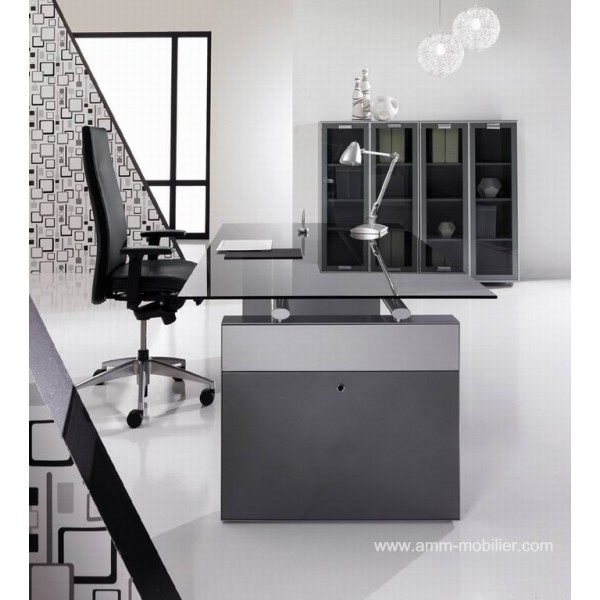 Bureau de direction exclusive finition verre noir gdbdesign for Bureau verre noir