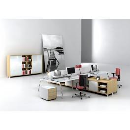 Bureaux opératifs Inspira en verre blanc composition 4 postes