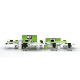 Bureaux opératifs Inspira stratifié blanc composition postes face à face