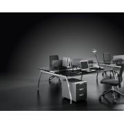 Bureaux opératifs Inspira stratifié noir composition postes face à face