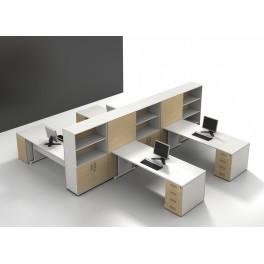 Bureaux opératifs Sintra S2 stratifié blanc et chêne clair