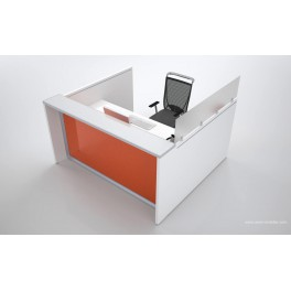 Banque d'accueil carrée Eos finition blanc et orange