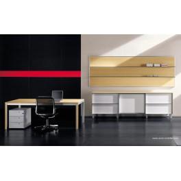 Bureau de direction Zefiro-exe finition érable, pieds aluminium et bois
