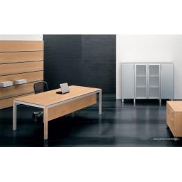 Bureau de direction Zefiro-exe finition cerisier, pieds aluminium et bois