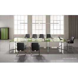 Table de réunion I-Meet rectangulaire en verre amande