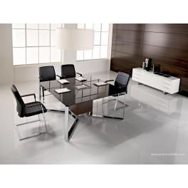 Table de réunion I-Meet carrée en verre noir