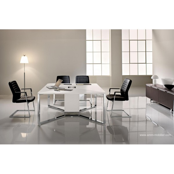 table de r union i meet carr e plateau blanc. Black Bedroom Furniture Sets. Home Design Ideas