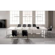 Table de réunion I-Meet rectangulaire plateau blanc