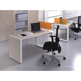 Bureau opératif trapèze Logic bois naturel et blanc