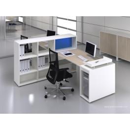 Bureau opératif droit Logic bois naturel et blanc configuration côte à côte