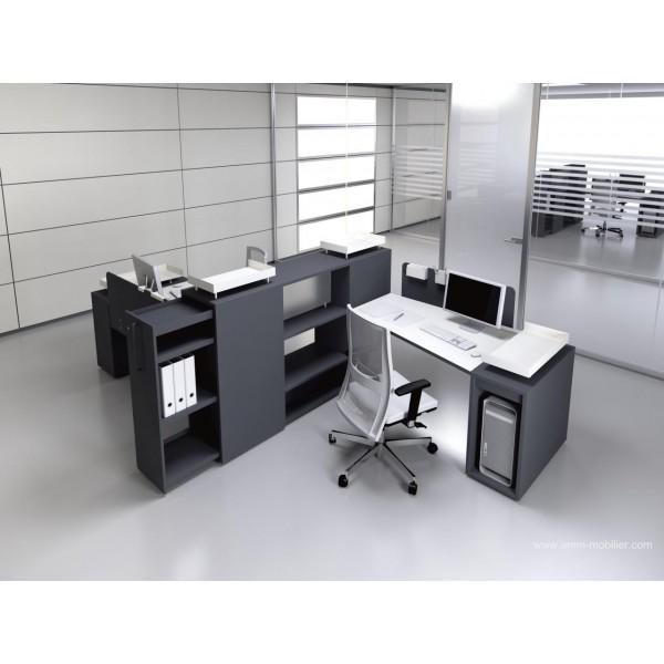 Bureau op ratif trap ze logic noir et blanc fabricant las for Bureau noir blanc