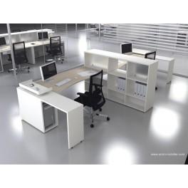 Bureau opératif vague Logic bois naturel et blanc configuration côte à côte