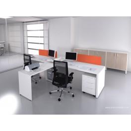 Bureau opératif droit Logic blanc configuration côte à côte