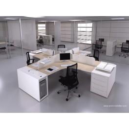 Bureau opératif 90 degrés Logic bois naturel et blanc configuration 4 postes