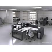 Bureau opératif 90 degrés Logic noir et blanc configuration 4 postes
