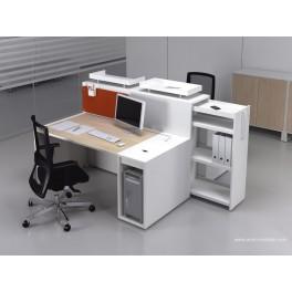 Bureau opératif droit Logic bois naturel et blanc configuration face à face