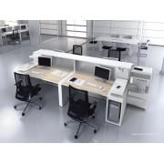 Bureau opératif droit Logic bois naturel et blanc configuration 4 postes face à face