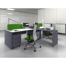 Bureau opératif droit Logic noir et blanc configuration côte à côte