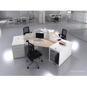 Bureau opératif 120 degrés Logic bois naturel et blanc configuration 3 postes