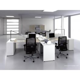Bureau opératif trapèze Logic bois naturel et blanc configuration 4 postes face à face