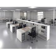 Bureau opératif trapèze Logic bois naturel et blanc configuration côte à côte