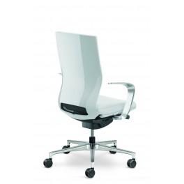 Fauteuil de direction Moteo Style blanc avec dossier standart et accoudoirs design