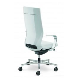 Fauteuil de direction Moteo Style blanc avec haut dossier et accoudoirs design