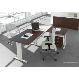 bureau op ratif droit oxi weng et blanc avec retour. Black Bedroom Furniture Sets. Home Design Ideas