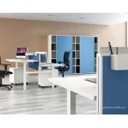 Bureau opératif droit UP blanc configuration face à face