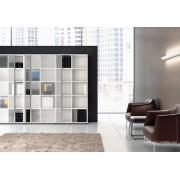 Armoire à cases blanche Universel avec portes coulissantes en verre