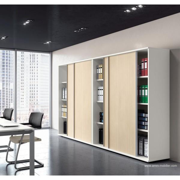 Armoire blanche universel avec portes coulissantes rable - Armoire avec portes coulissantes ...