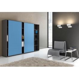 Armoire anthracite à cases Universel avec portes coulissantes bleues