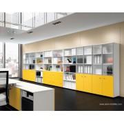 Armoire à cases Universel avec portes battantes en verre et bois jaune