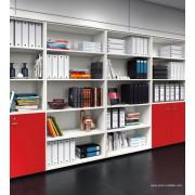 Armoire blanche à cases Universel avec portes coulissantes en bois rouge