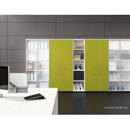 Armoire blanche Universel avec portes battantes en verre et bois vert