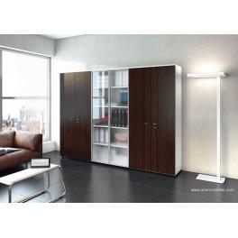 Armoire blanche Universel avec portes battantes en verre et wengé