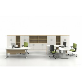 Bureau opératif compact 90 degrés arrondi Sintra S3 blanc