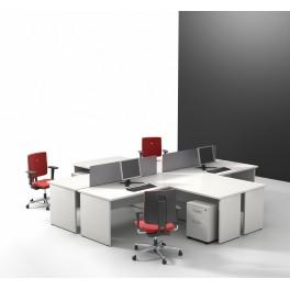 Bureau opératif droit Sintra S1 blanc configuration 4 postes
