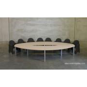 Table de réunion elliptique finition Chêne clair